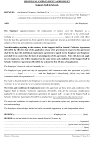 """Individual Employment Agreement Template (Support Staff in Schools )"""