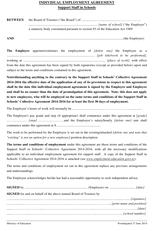 Individual Employment Agreement Template (Support Staff in Schools ) Download Pdf