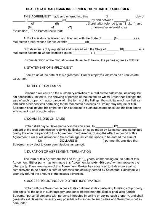 Real Estate Salesman Independent Contractor Agreement Template Download Pdf