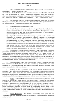 "Form 35 ""Confidentiality Agreement"" - Colorado"