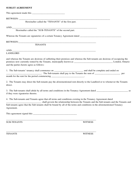 Sublet Agreement Template Download Pdf