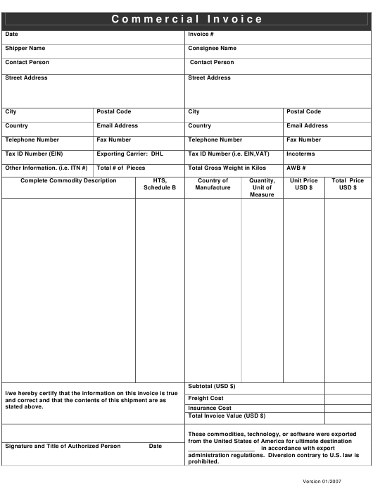 """Commercial Invoice Template"" Download Pdf"