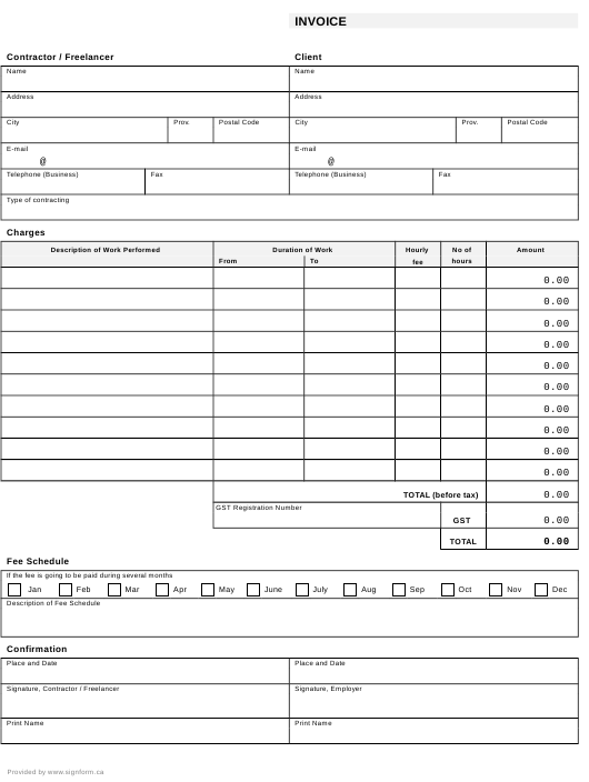 """""""Contractor/Freelancer Invoice Template"""" Download Pdf"""