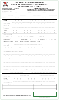 """Application Form for the Renewal of Trinidad and Tobago Machine Readable Passport (Applicants 16 Years and Over)"" - Trinidad and Tobago"