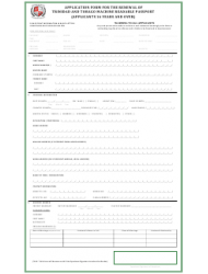 Application Form for the Renewal of Trinidad and Tobago Machine Readable Passport (Applicants 16 Years and Over)