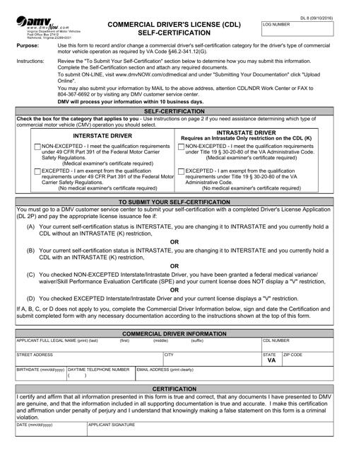 Form DL8  Printable Pdf