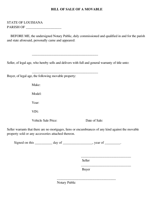 """Bill of Sale of a Movable"" - Louisiana Download Pdf"