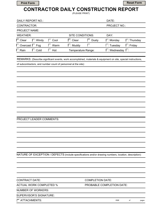 Contractor Daily Construction Report Template Download Fillable Pdf Templateroller