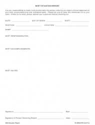 Form 6-8-F19 Shift Situation Report Form - Providence, Rhode Island
