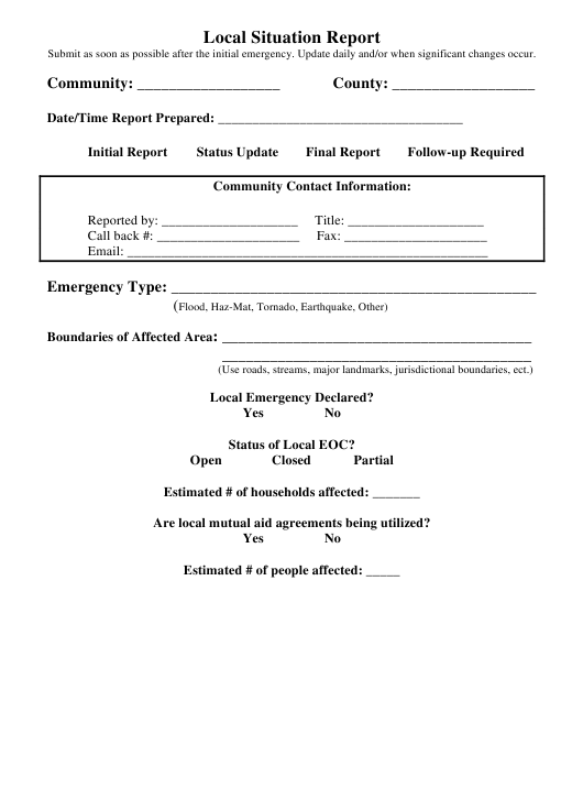 Local Situation Report Form Download Pdf