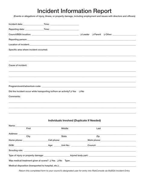 """Incident Information Report Form"" Download Pdf"