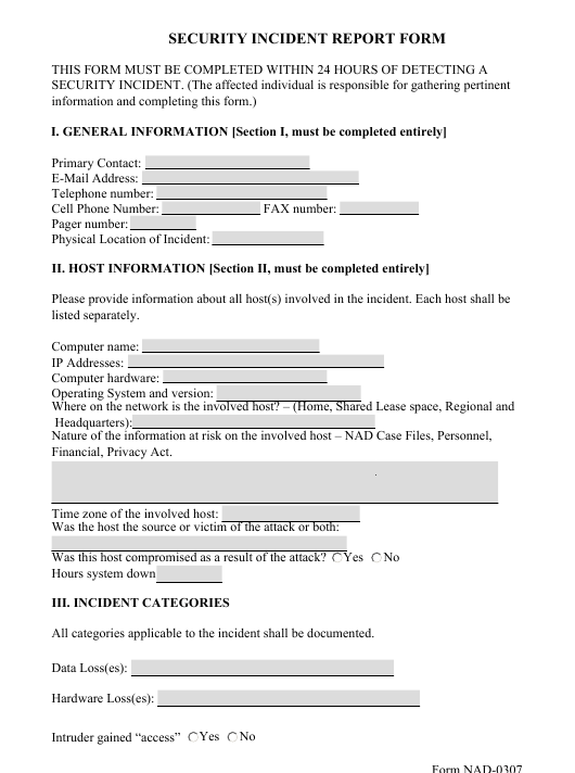 Form NAD-0307 Fillable Pdf