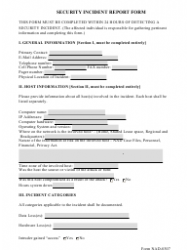 Form NAD-0307 Security Incident Report Form
