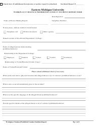 """Workplace Violence/ Prohibited Conduct Incident Report Form - Eastern Michigan University"" - Michigan"
