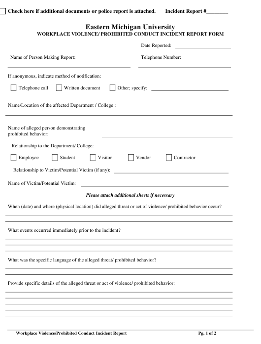 Workplace Violence/ Prohibited Conduct Incident Report Form - Eastern Michigan University - Michigan Download Pdf