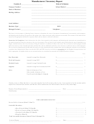 "Form A-5 ""Manufacturers' Inventory Report Form"" - Arkansas"