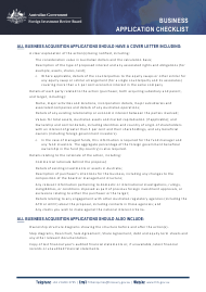 Business Application Checklist Form - Australia