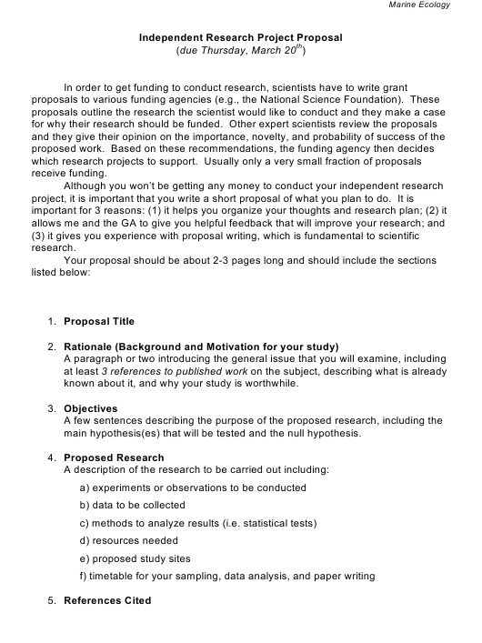 Independent Research Project Proposal Template - California State University, Northridge - Northridge, Download Pdf