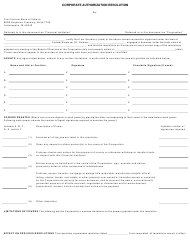 """Corporate Authorization Resolution Form"" - Indiana"