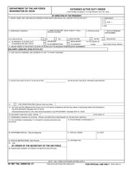 """AF IMT Form 766 """"Extended Active Duty Order"""""""