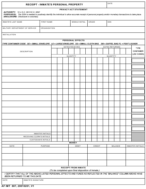 AF IMT Form 807  Printable Pdf