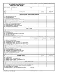 AF IMT Form 541 Nutritional Medicine Service Subsistence Cost Report