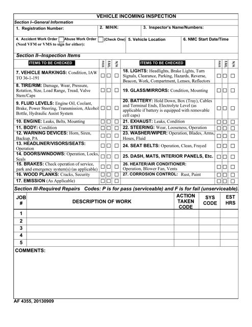 AF Form 4355 Download Fillable PDF, Vehicle Incoming