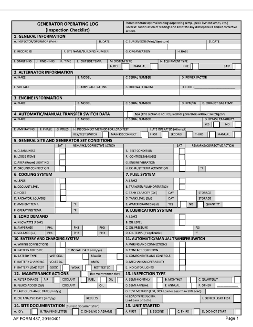 AF Form 487  Printable Pdf