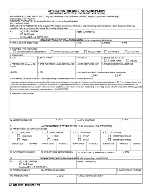 AF IMT Form 4021  Printable Pdf