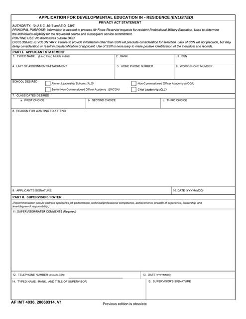 AF IMT Form 4036 Fillable Pdf