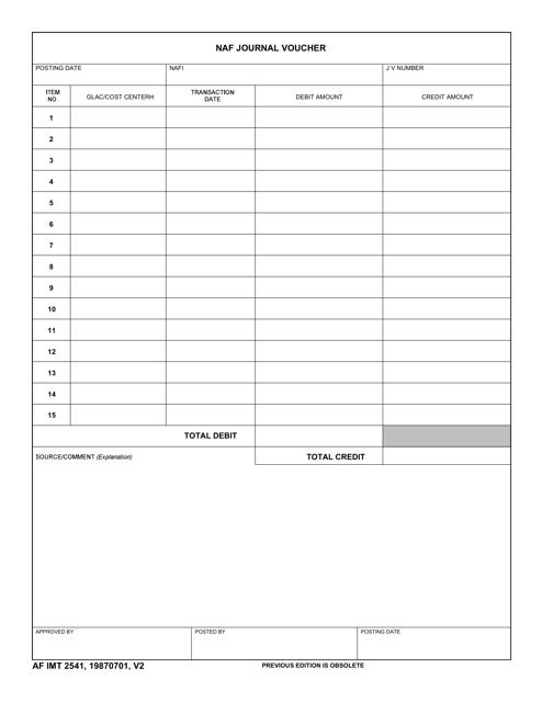AF IMT Form 2541 Printable Pdf