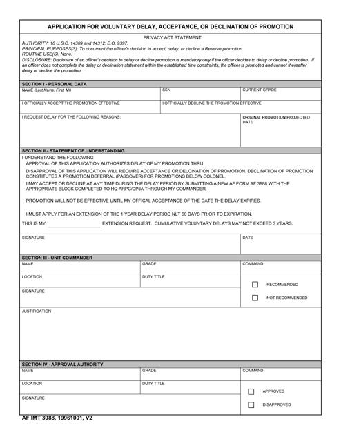 AF IMT Form 3988 Fillable Pdf