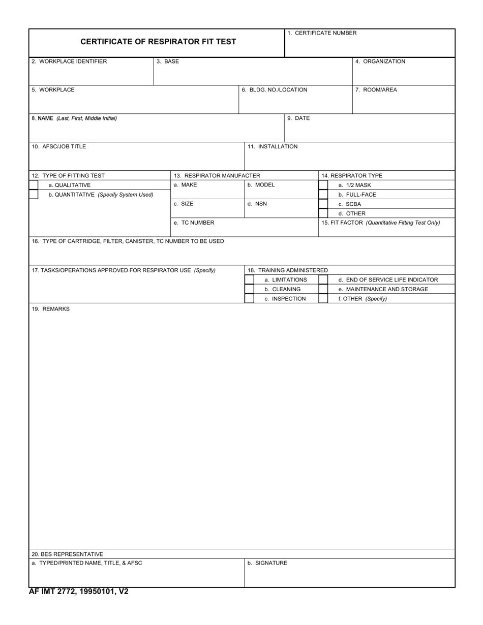 Af Imt Form 2772 Download Fillable Pdf Or Fill Online Certificate Of Respirator Fit Test Templateroller