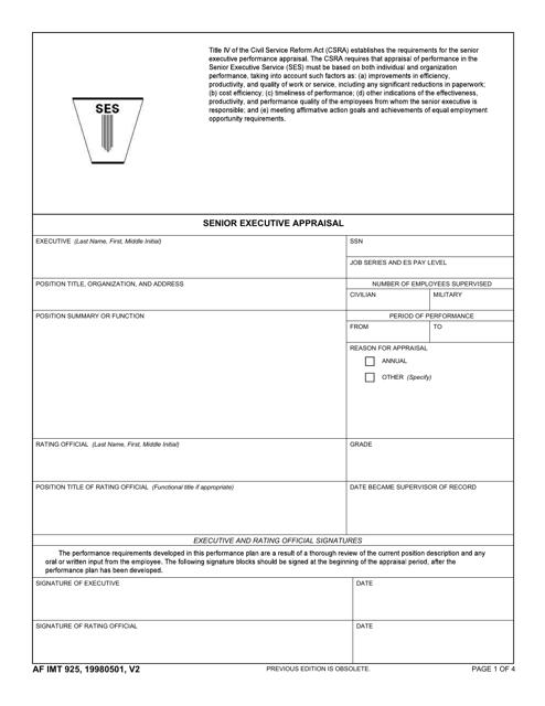 AF IMT Form 925 Fillable Pdf