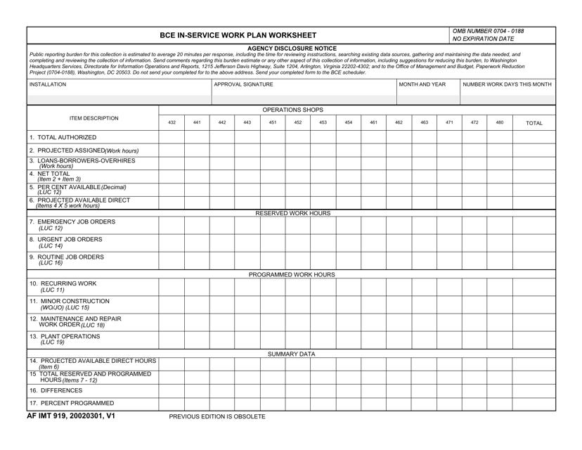 AF IMT Form 919  Printable Pdf