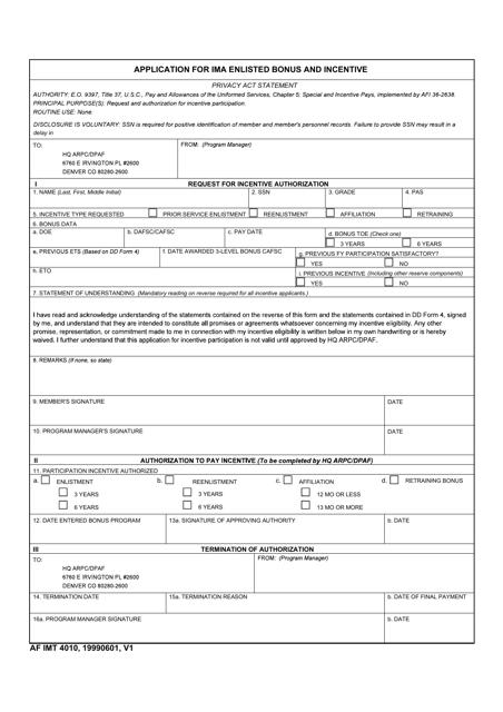 AF IMT Form 4010  Printable Pdf