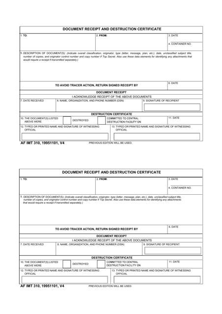 AF IMT Form 310 Printable Pdf