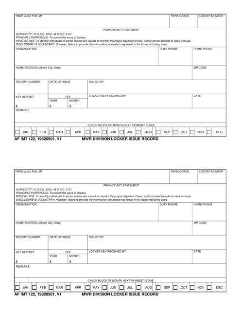 AF IMT Form 122 Fillable Pdf