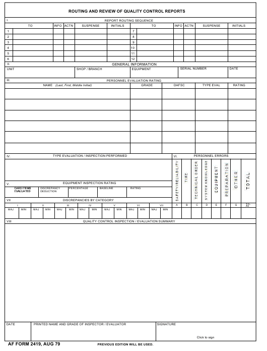 af form 2419 download fillable pdf or fill online routing