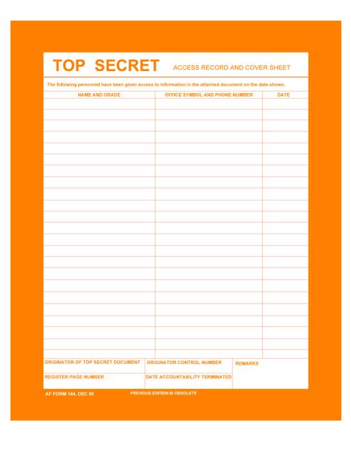 AF Form 144  Printable Pdf