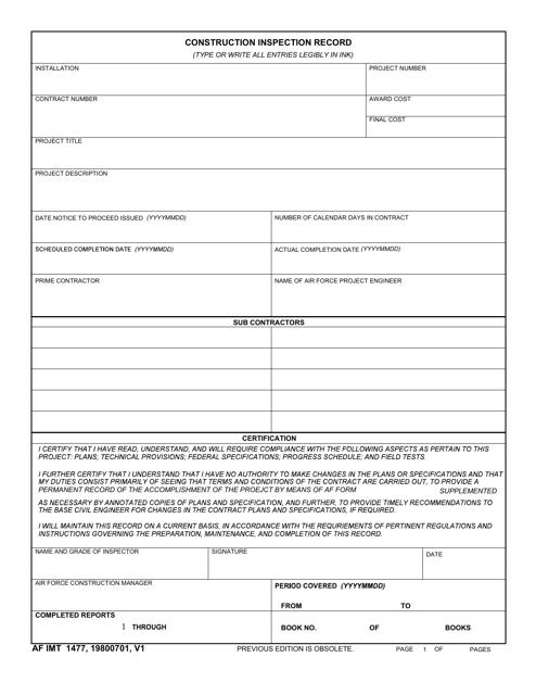 AF IMT Form 1477 Download Fillable PDF, Construction