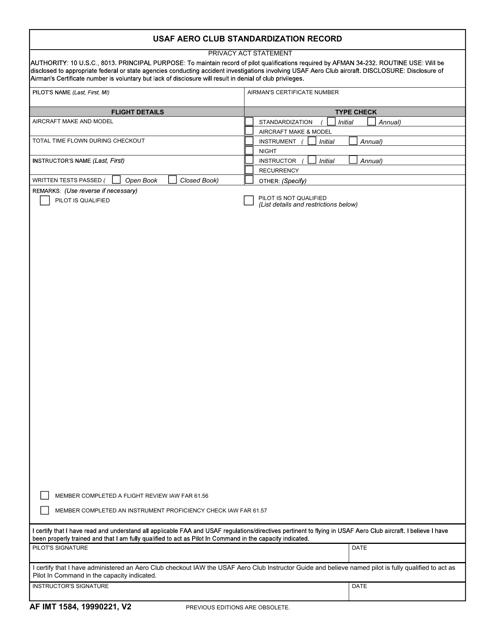 AF IMT Form 1584  Printable Pdf