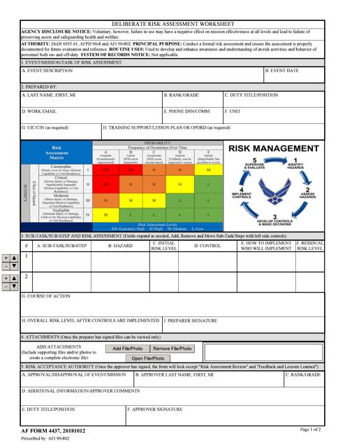AF Form 4437  Printable Pdf