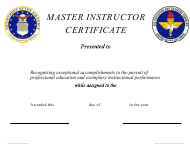"""AETC Form 630 """"Master Instructor Certificate"""""""