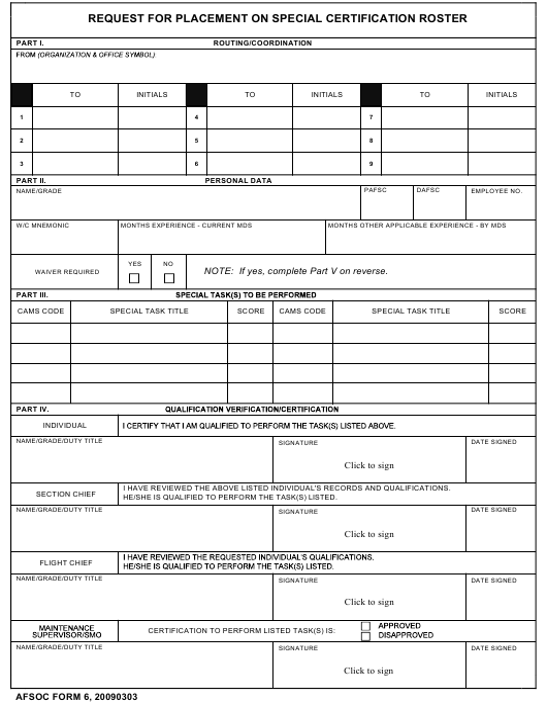 AFSOC Form 6  Printable Pdf