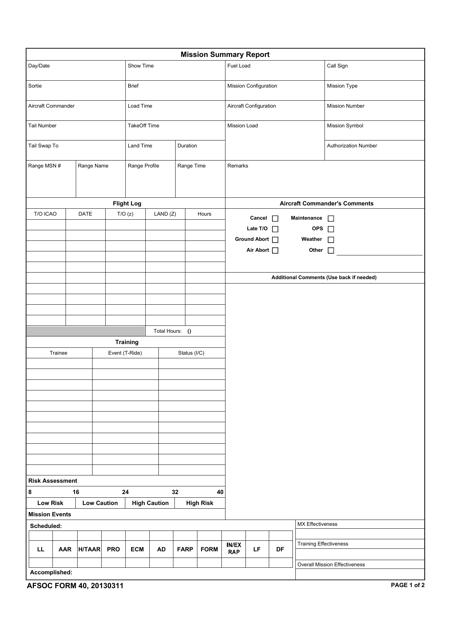 AFSOC Form 40  Printable Pdf