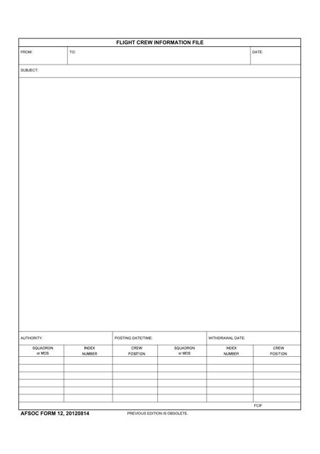 AFSOC Form 12  Printable Pdf