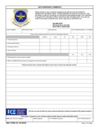 """AMC Form 253 """"Air Passenger Comments"""""""