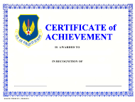 """USAFE Form 221 """"Certificate of Achievement"""""""