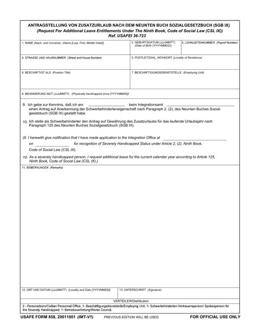 USAFE Form 858  Printable Pdf